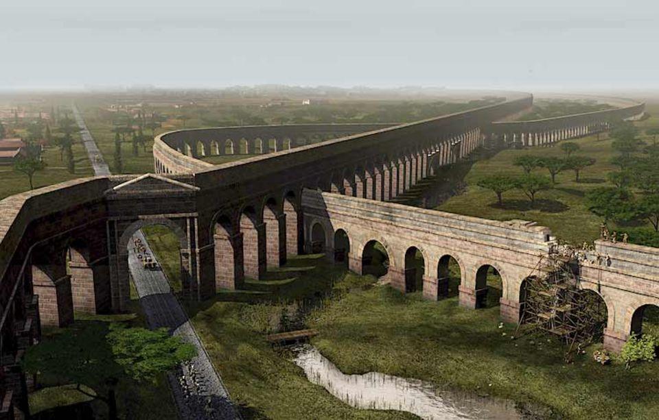 Fünf Kilometer vor den Toren Roms kreuzen sich die 140 v. Chr. vollendete Aqua Marcia (rechts) und die jüngere Aqua Claudia. Mit einem steten Gefälle führen die Aquädukte Wasser in die Stadt