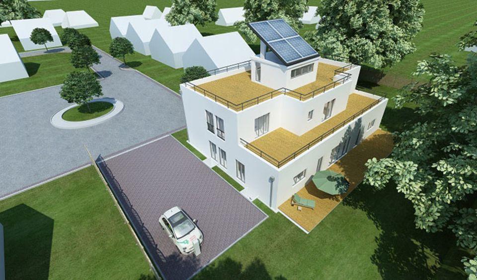 Die energieautarke Elektrohausauto-Siedlung in Norderstedt: Bis April 2012 werden hier 50 Einfamilien und Doppelhäuser errichtet
