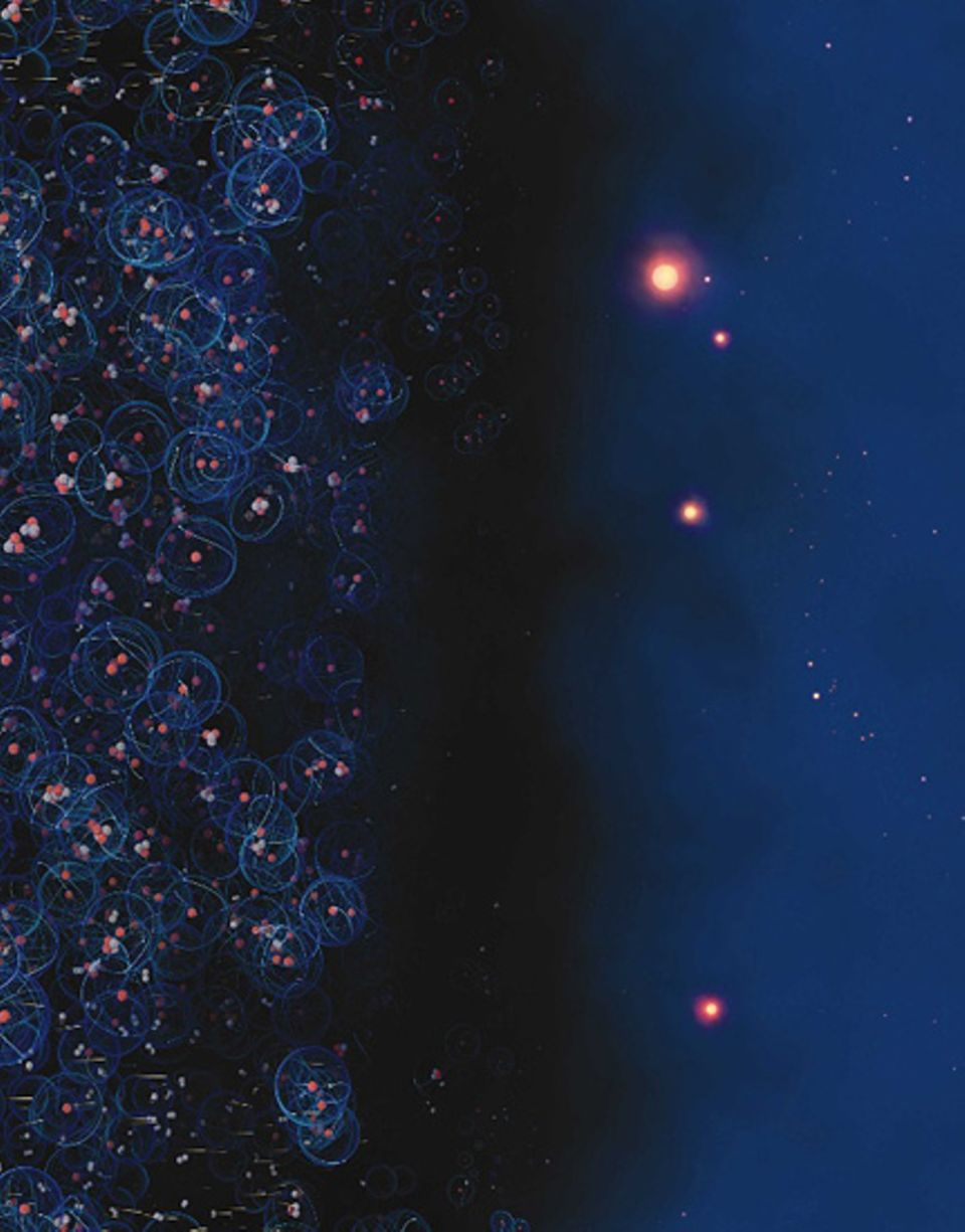 Unser All entsteht aus einem winzigen Punkt ungeheurer Hitze und Dichte, der vor 13,7 Milliarden Jahren explodiert. Der Kosmos dehnt sich aus, schon bald entstehen Partikel, die sich nach 380 000 Jahren zu ersten Atomen zusammenfügen