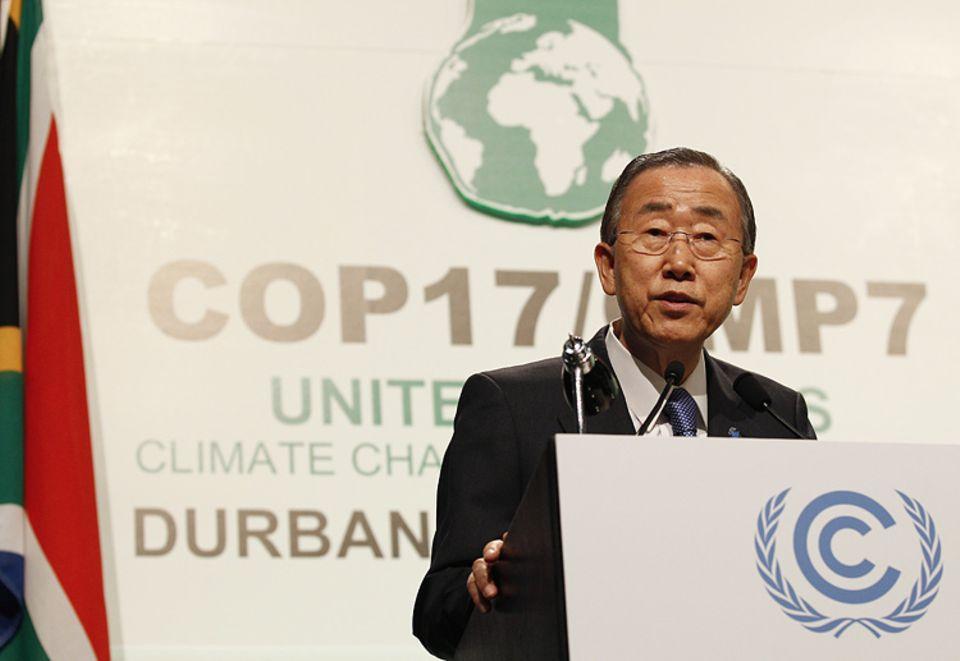 Durban: UNO-Generalsekretär Ban Ki-moon schwört die Teilnehmer der 17. Klimakonferenz auf gemeinsames Handeln ein - mit mäßigem Erfolg