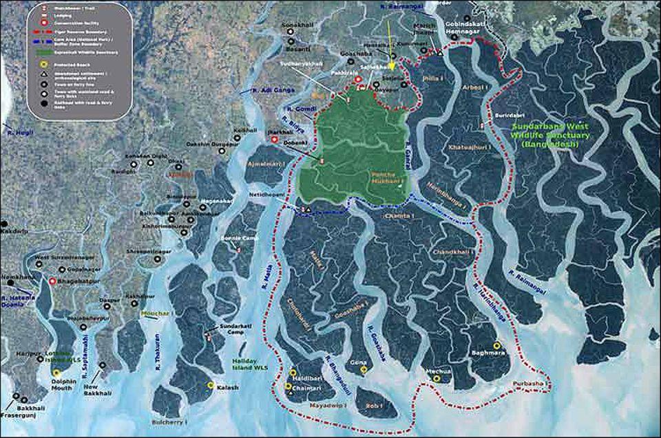 Indien: Das Projektgebiet Satjalia (gelber Pfeil) liegt nördlich des Nationalparks Sundarbans (rot umrandet)