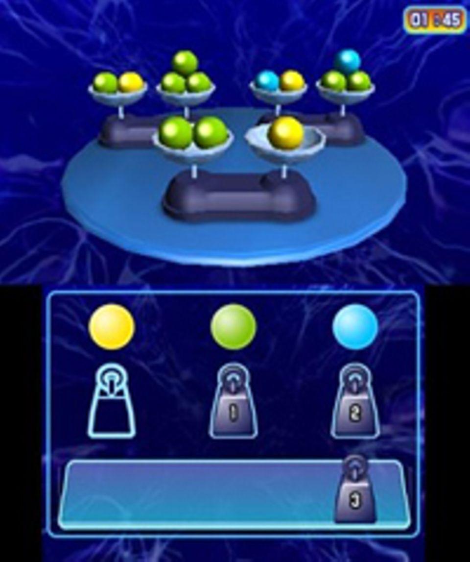 Spieletests: Welche Farbkugel wiegt wie viel? Mit Knobelrätseln wie diesem unterhält uns Professor Robertson