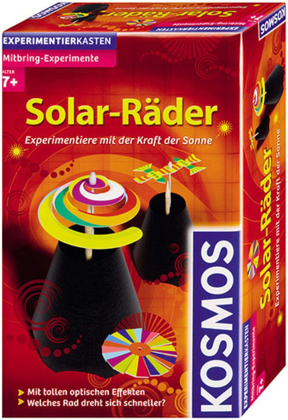 Experimentierkästen: Zwei Solarräder können aus dem kleinen Paket entstehen. Alle Materialen sind enthalten