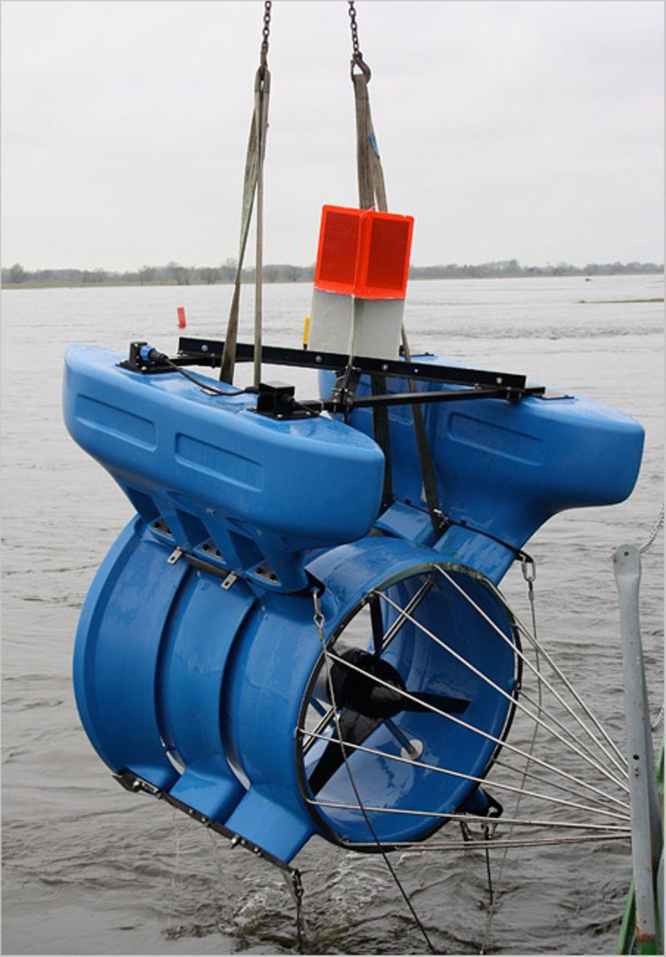 Der Öko-Generator ist leicht zu montieren und auch in kleineren Flüssen einsetzbar