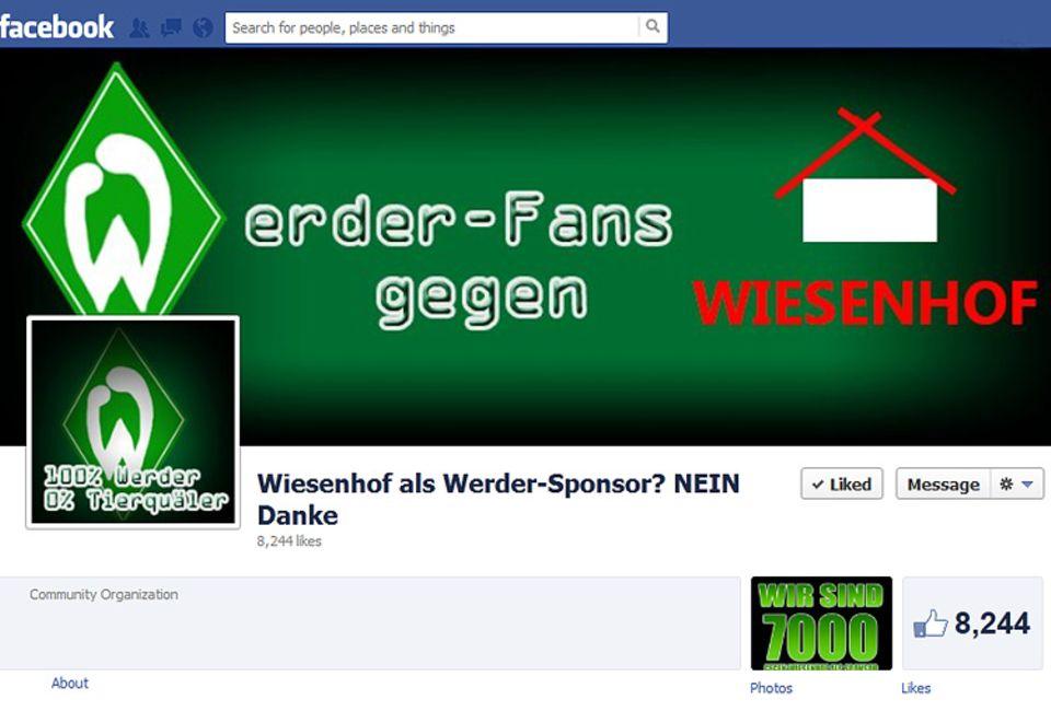 """Screenshot der Facebookseite """"Wiesenhof als Werder-Sponsor? Nein, danke!"""" Hier protestieren Fußballfans und Tierschützer gegen das geplante Sponsoring"""