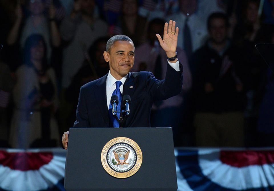 Barack Obama kurz nach seiner Wiederwahl in Chicago