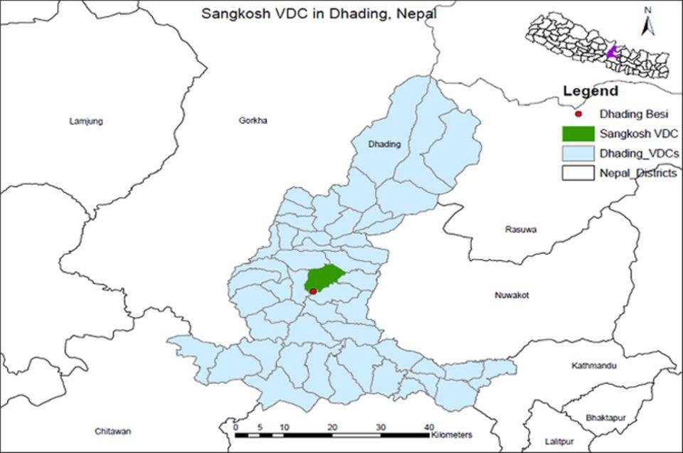 Nepal: Lage des Projektgebiets Sankosh (grün) nördlich von Dhading Besi (roter Punkt), im Zentrum des Distrikts Dhading (blau)