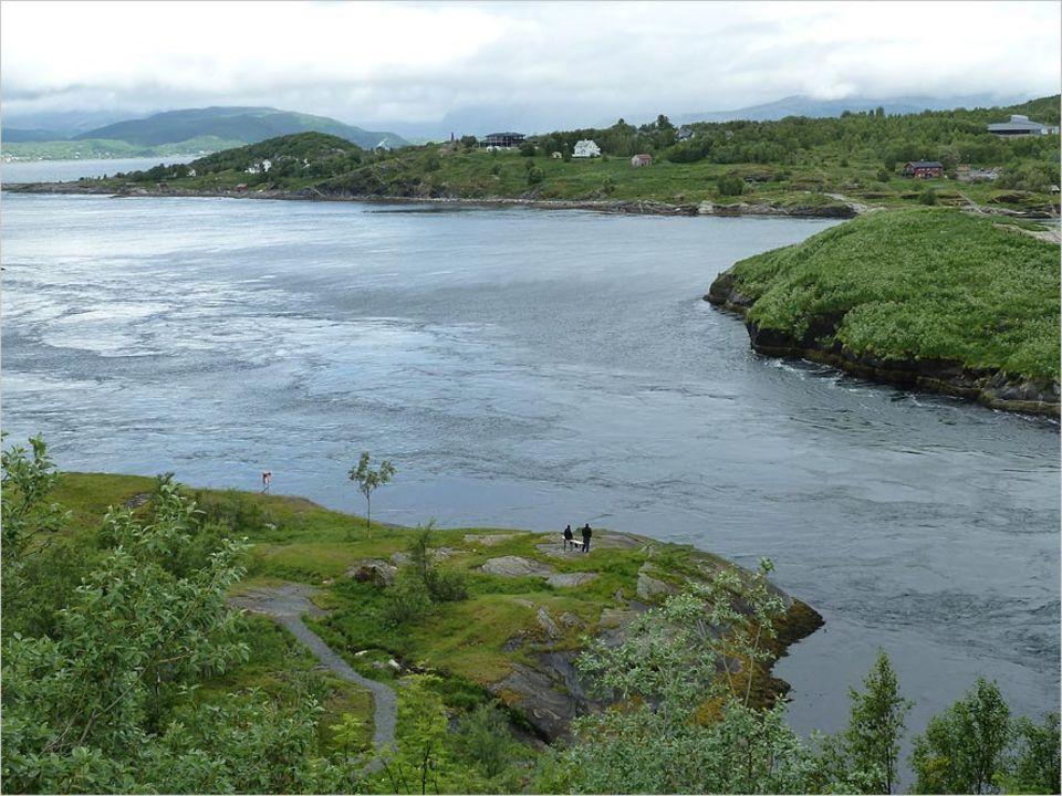 Norwegen: An der Wasseroberfläche lässt sich eine Strömung erahnen - unter Wasser ist es dann richtig turbulent