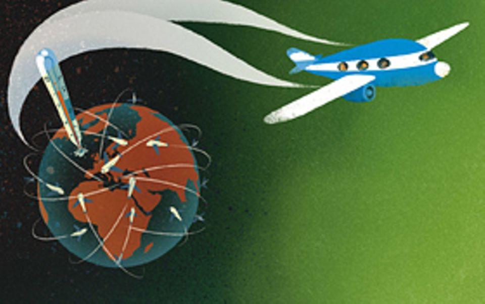 Hochbetrieb am Himmel: Allein über Deutschland fliegen jeden Tag rund drei Millionen Flugzeuge hinweg. Sie malen Kondensstreifen und pusten riesige Mengen an CO2 in die Luft. Das ist ein Grund für den Klimawandel - also dafür, dass es auf der Erde immer wärmer wird