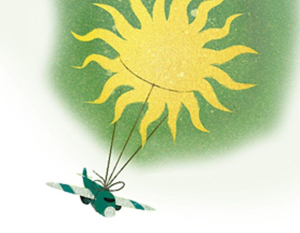 """Sonne tanken: Solarflugzeuge wandeln Sonnenlicht in elektrische Energie um. Auf dem Modell """"Solar Impulse"""" etwa sitzen dazu knapp 12.000 Solarzellen. Das Flugzeug schaffte es im Juli 2010 erstmals, genug Sonnenenergie zu speichern, um auch nachts zu fliegen"""