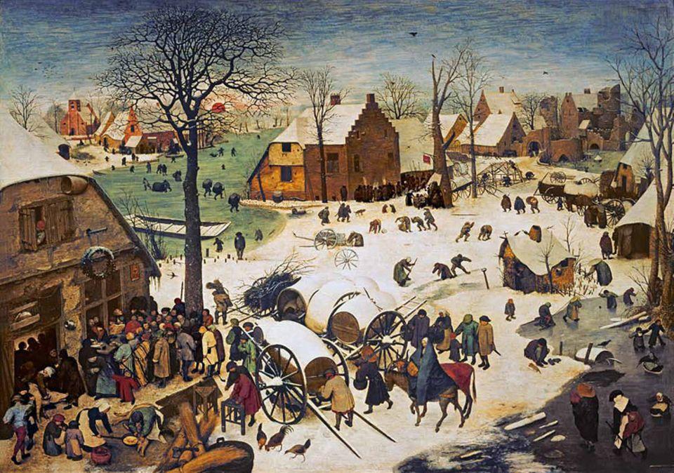 Kunstgeschichte: Der Schein der heilen Welt: Wie eine simple winterliche Dorfszene wirkt Bruegels Gemälde von 1566 - wäre da nicht die Frau auf einem Esel am unteren Bildrand: die schwangere Maria, die Hauptfigur der Volkszählungsepisode aus dem Neuen Testament