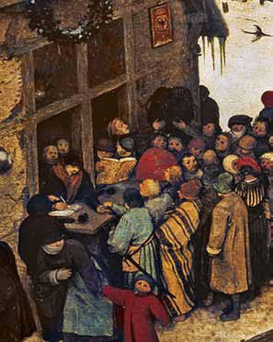 Kunstgeschichte: Widerstand gegen die Besatzer: Büttel in kostbarem Pelz treiben Steuern ein, unter dem Wappen des Hauses Habsburg: Mit diesem Detail schmäht Bruegel die spanische Fremdherrschaft in den Niederlanden
