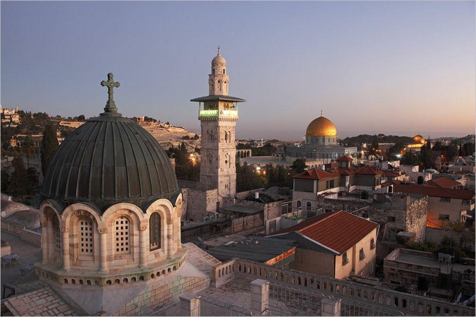Jerusalem: Die wunderschöne Altstadt Jerusalems mit Blick auf den Felsendom