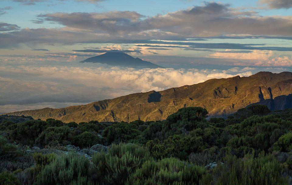 Kilimandscharo: Blick auf den Nachbarn: Neben Kilimandscharo erhebt sich Mount Meru über die Wolken. Mit 4.565 m Metern Höhe zählt der schlafende Vulkan zum dritthöchsten Berg Tansanias