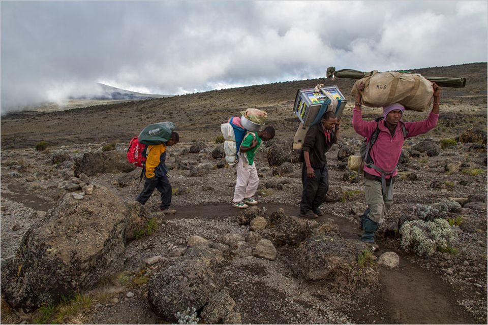 Kilimandscharo: Einer trage des Anderen Last: Etwa 20 Kilo schleppt jeder Träger. Für ein paar Schilling am Tag wuchten sie Tische, Stühle, schwere Gaskocher und sogar chemische Toiletten bis in 4600 Meter Höhe