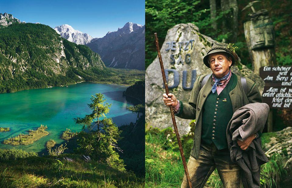 """Sommer in den Alpen: Vom sogenannten Ameisenkopf aus, überblicken Wanderer das Almtal. Auf dem Weg dorthin kommen sie auch am Grenzstein zum """"Du-Land"""" vorbei, den Wirt Hermann Hürthmayr hier aufgestellt hat"""