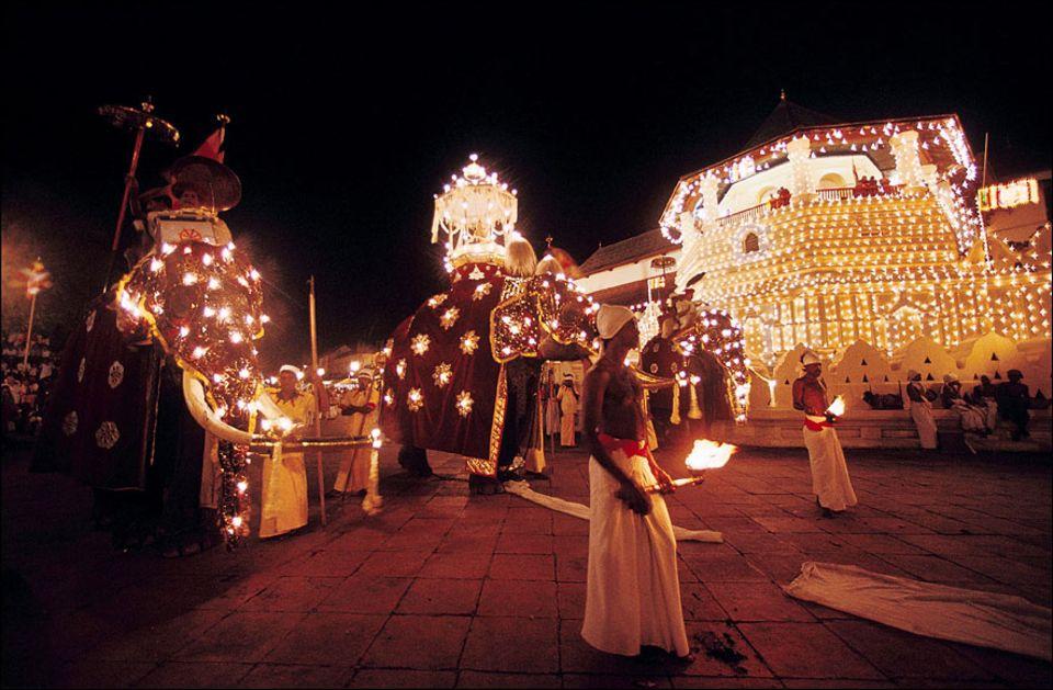 Indischer Ozean: Fantastisch: Die große Festprozession im Juli/August vor dem Zahnpalast des Buddhas in Kandy gehört zu den Höhepunkten einer Sri Lanka Reise