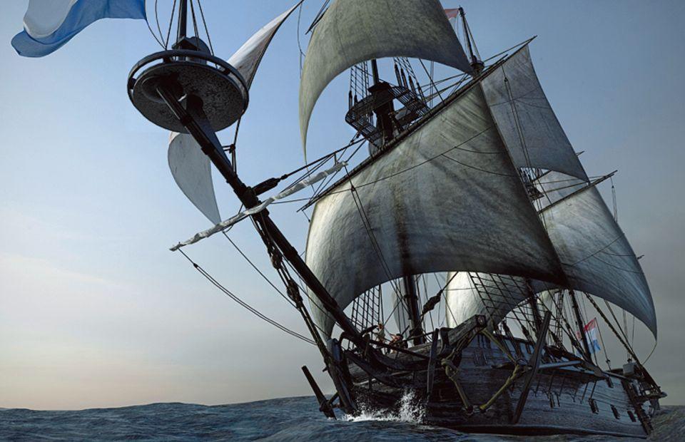 """Um 1720: """"Goldenes Zeitalter"""" der Piraterie: Am Heck weht die niederländische Flagge - eine List. In Wahrheit ist der Dreimaster """"Royal Fortune"""" unter Kapitän Bartholomew Roberts ein Piratenschiff auf der Suche nach Beute. Um ihre Opfer zu täuschen, führen die Seeräuber die Fahnen vieler seefahrender Nationen mit. Kaum ein Kaufmann hat gegen sie eine Chance: Ihre Fregatte ist schneller, besser bewaffnet und stärker bemannt als die meisten Frachtsegler"""