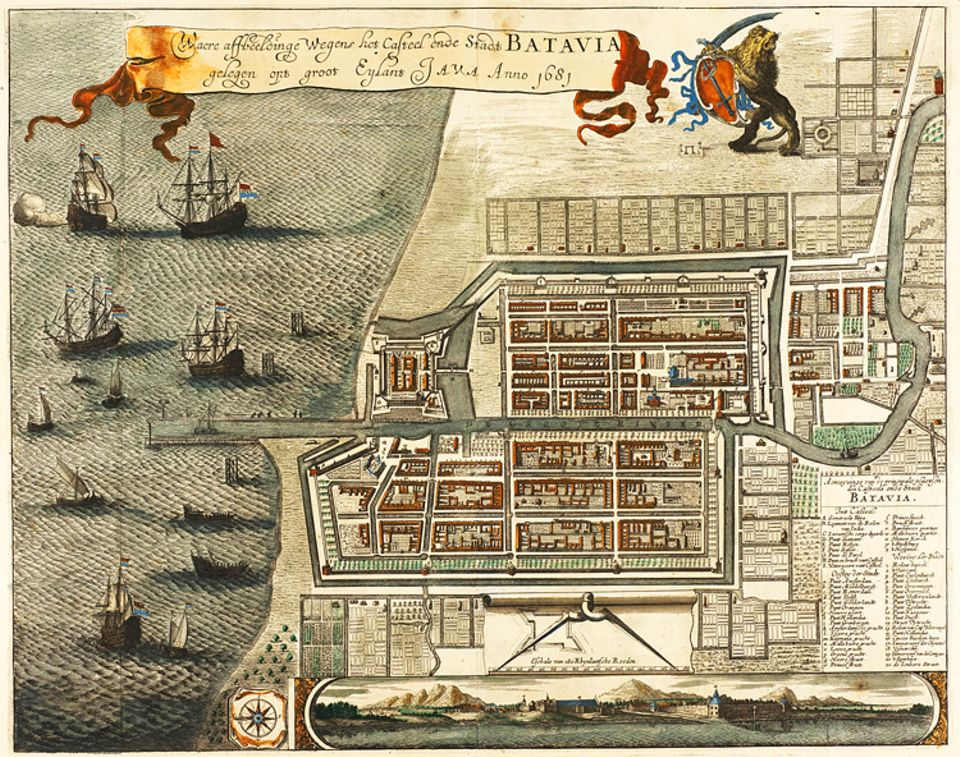 Zuweilen verschaffen sich die Kaufmannskrieger der VOC mit Gewalt Zugang zu Märkten und Häfen. Der Gründung ihres Handelszentrums Batavia (heute Jakarta) 1619 auf der Insel Java gehen schwere Kämpfe gegen Engländer und Einheimische voraus