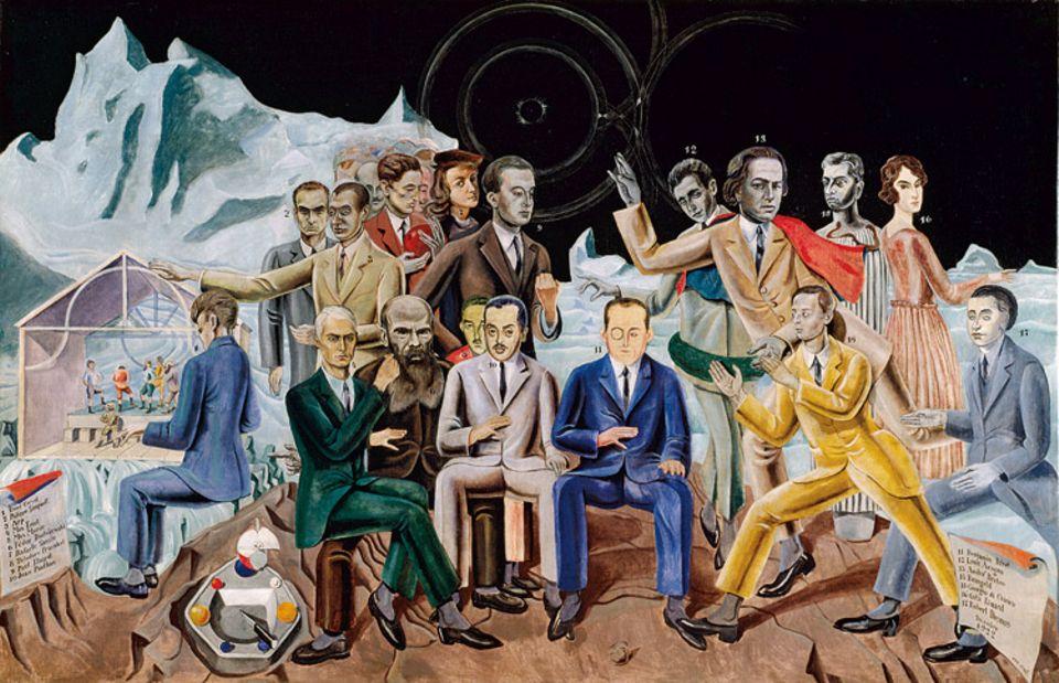 """Surrealismus: Auf dem """"Rendezvous der Freunde"""" porträtiert der Deutsche Max Ernst 1922 die Pariser Surrealisten, darunter deren Anführer André Breton. Er zeigt aber auch Vorbilder wie den Russen Fjodor Dostojewski. Ernst selbst sitzt auf dessen Schoß"""