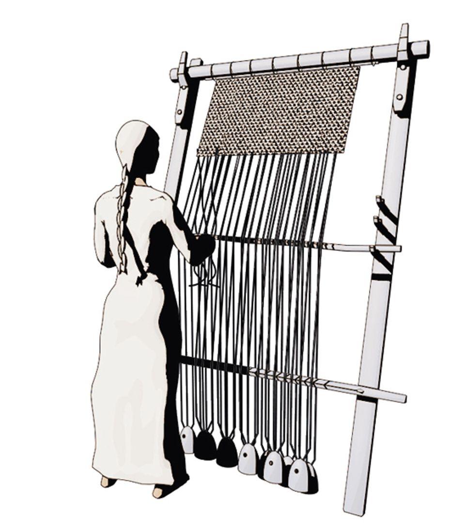 Wissens-Transfer: Die vermutlich in Anatolien erfundene Technik, Textilien rasch und in großer Stückzahl herzustellen, wird zur Grund- lage eines wichtigen Industriezweigs