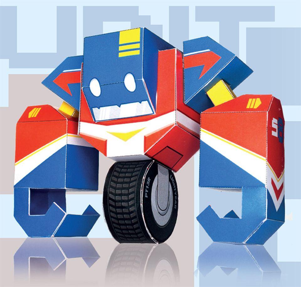 Bauanleitung: Unit 58 ist der Sohn des legendären Bau-Bots Unit56 und drauf und dran, in seine Fußstapfen zu treten. Zwar ist er noch jung und erfahren, dafür trainiert er aber fleißig, um eines Tages bessere Schaufeln kaufen zu können