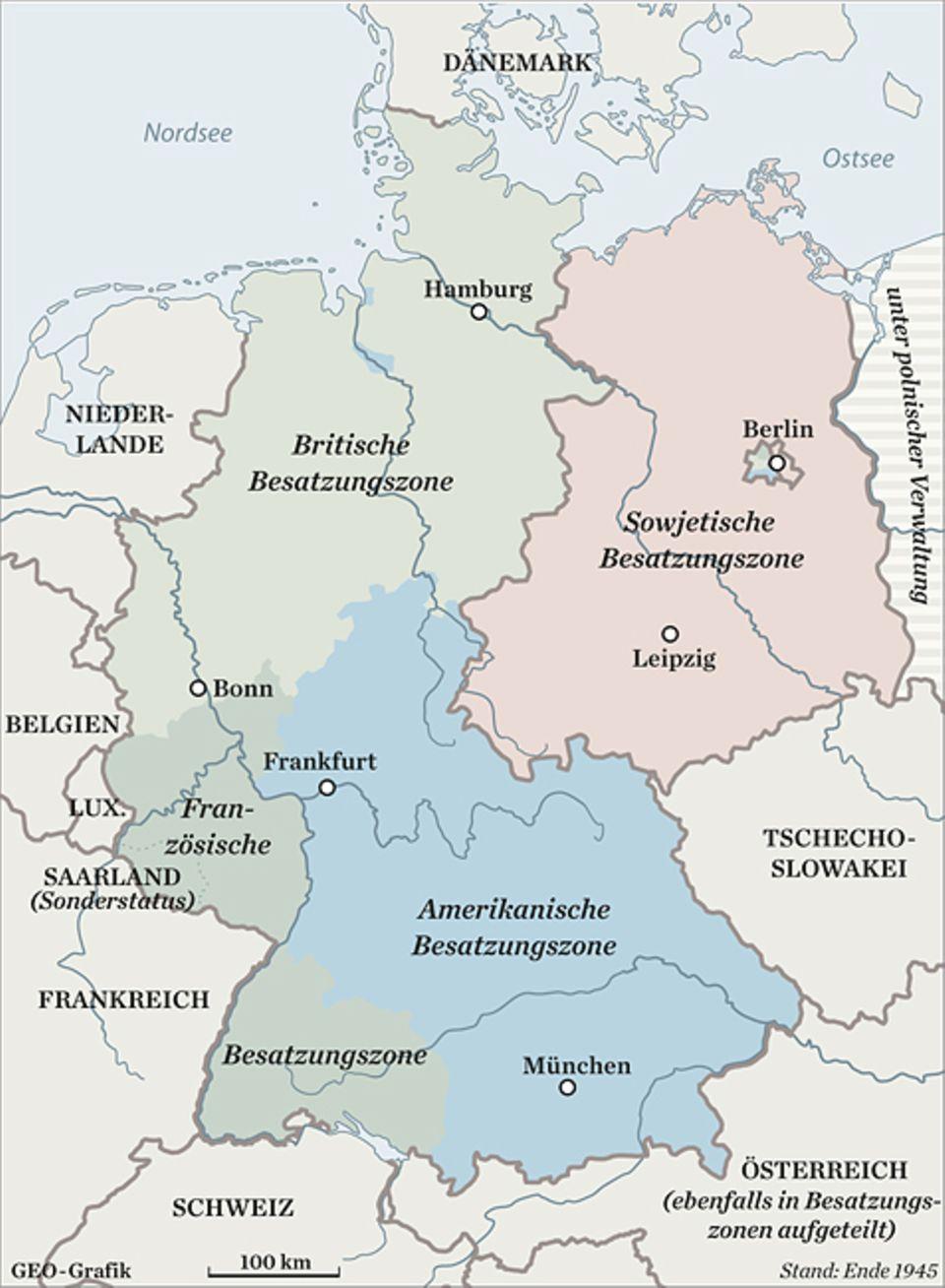 Kriegsende 1945: Die UdSSR, USA und Großbritannien trennen Schlesien, Pommern und Ostpreußen von Deutschland ab, den Rest teilen die Siegermächte in vier Besatzungszonen auf, Berlin bleibt unter gemeinsamer Verwaltung