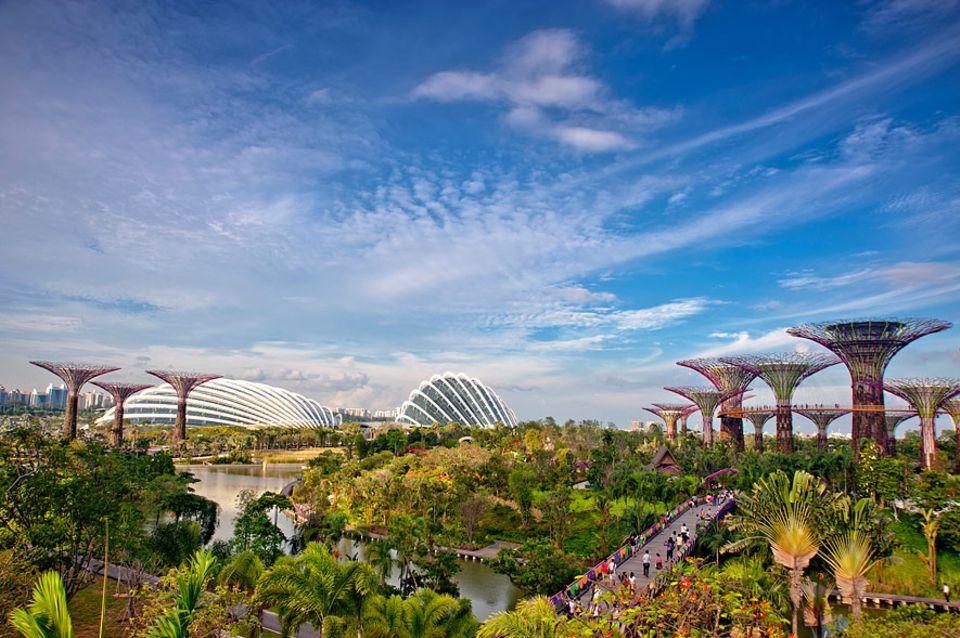 """Reisetipps Singapur: """"Gardens by the Bay"""" soll die Lebensqualität der Einwohner verbessern. Die Parkanlage ist 101 Hektar groß und wurde künstlich aufgeschüttet"""