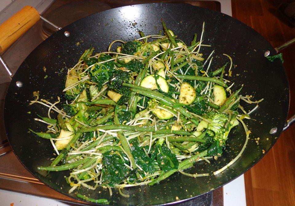 Rezept: Guten Appetit mit eurem grünen Gemüse im Wok!