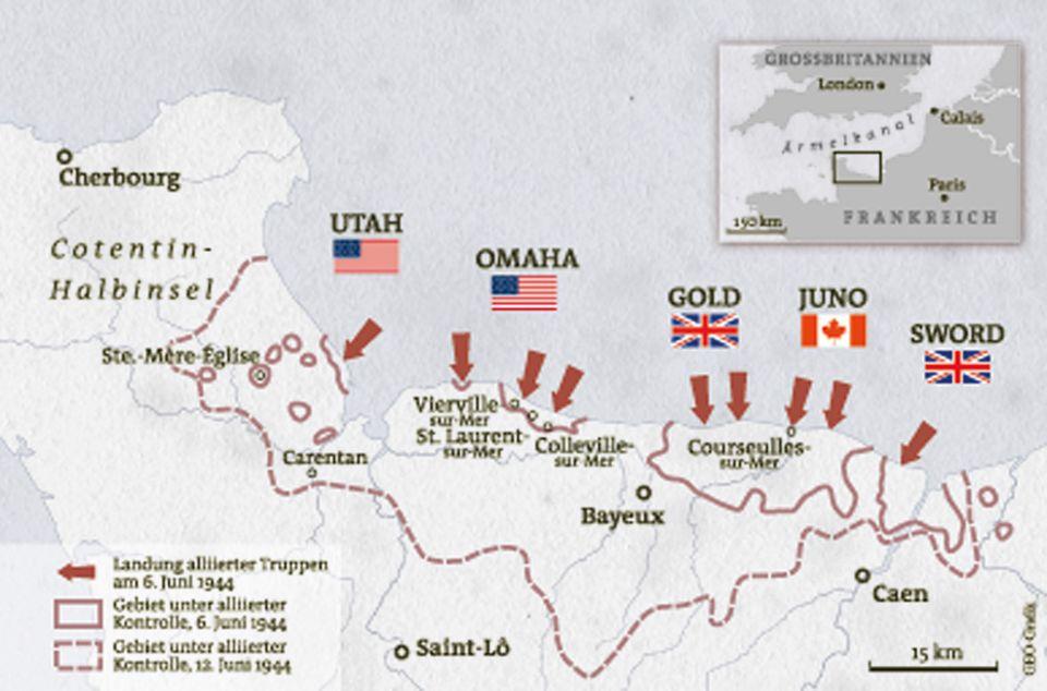 Zweiter Weltkrieg: Oberbefehlshaber Dwight D. Eisenhower legt das Invasionsziel fest: fünf mit Code namen bezeichnete Strände östlich der Halbinsel Cotentin in der Normandie. Die Landung gelingt, doch die deutschen Verteidiger wehren sich erbittert