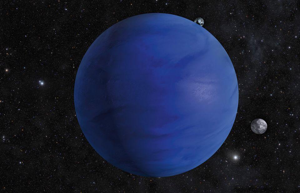 Milchstraße: Der Wasser-Planet: Erdähnliche Himmelskörper könnten komplett mit Meeren bedeckt sein, die Hunderte Kilometer tief sind. Ein Kandidat dafür ist der 1200 Lichtjahre entfernte Planet Kepler 62f, der möglicherweise mehrere Monde hat