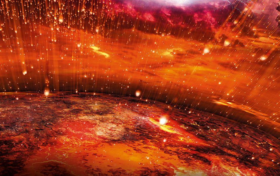 Milchstraße: Wo Eisen vom Himmel fällt: Die Oberfläche des Planeten 51 Pegasi b im Sternbild Pegasus ist vermutlich mehr als 1000 Grad Celsius heiß, denn der Himmelskörper umrundet seinen Stern in nur 7,5 Millionen Kilometer Abstand. In einer solchen Hitzehölle verdampft bei niedrigem Druck selbst Eisen – und regnet womöglich als flüssige Glut hinab