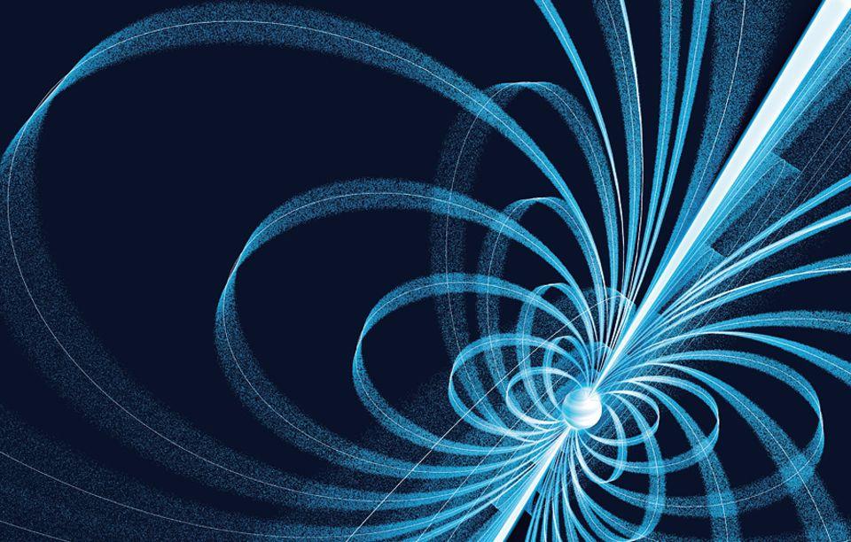 Milchstraße: Aus den Magnetpolen von Neutronensternen (die nicht auf der Drehachse der Himmelskörper liegen) schießen elektromagnetische Strahlenkegel ins All. Sie machen die Winzlinge noch in Zehntausenden Lichtjahren Entfernung sichtbar. Zudem sind die Sonnenleichen von mächtigen Magnetfeldlinien umgeben