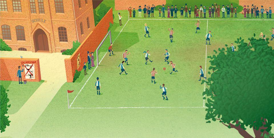 Fußball: Nur wenige Jahre nach dem ersten Spiel ist Deutschland im Fußballfieber! Auf Schulhöfen wird gekickt und die Anzahl der Vereine steigt stetig