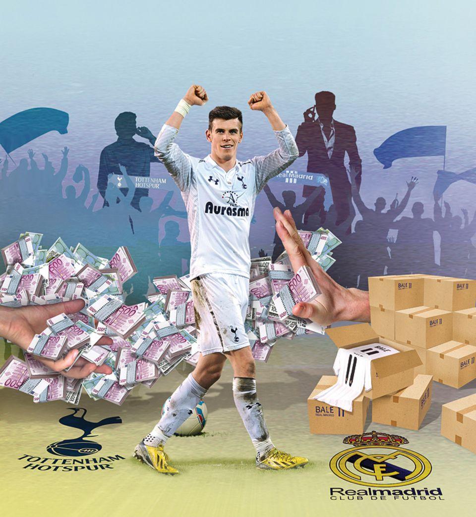 Fußball: Alle wollen Gareth Bale! 91 Millionen Euro soll Real Madrid an Tottenham Hotspur bezahlt haben, damit der Stürmer das Trikot wechselt