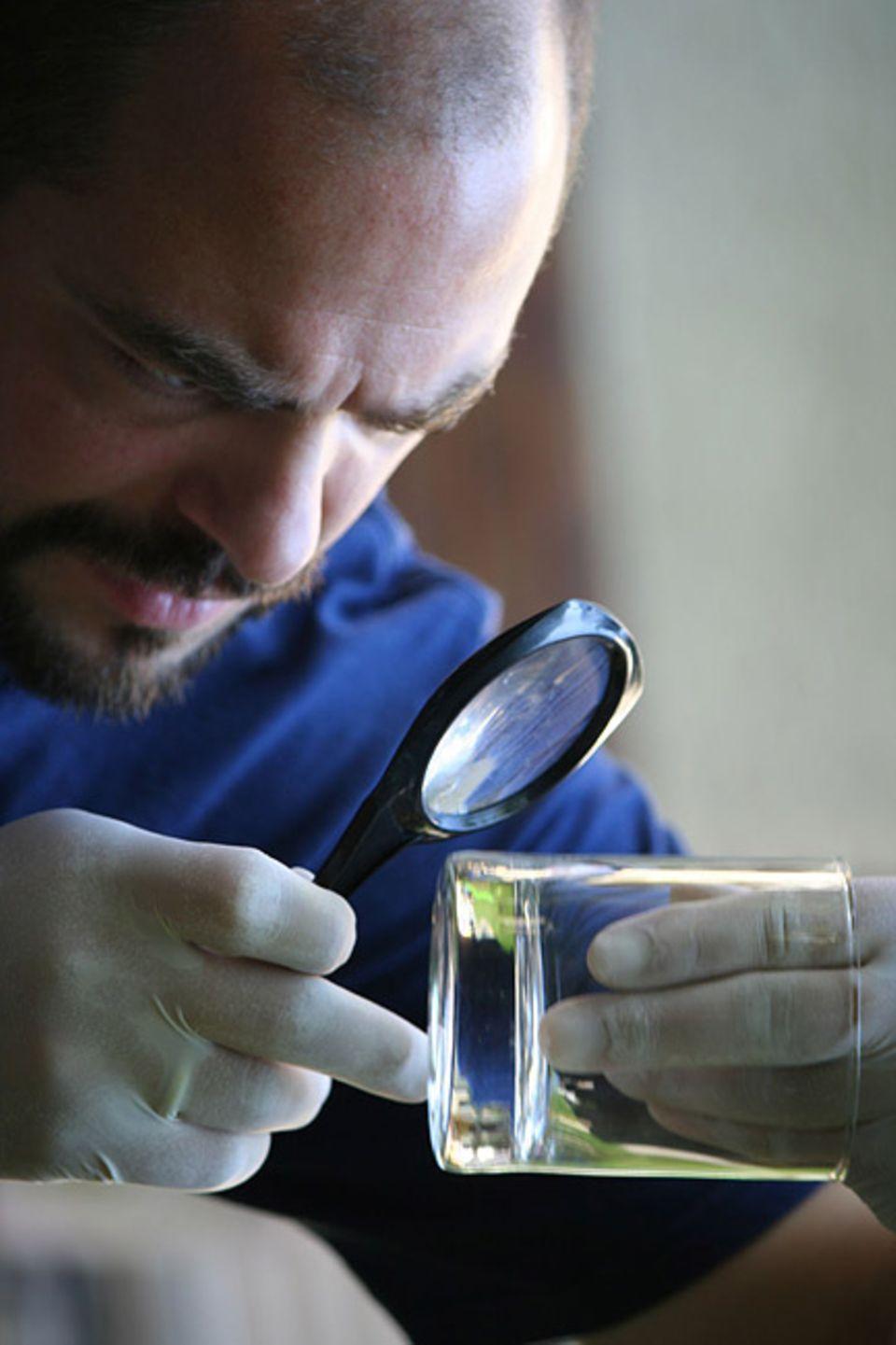 Beruf: Bevor man Fingerabrücke sichern kann, muss man sich den Spurenträger genau anschauen