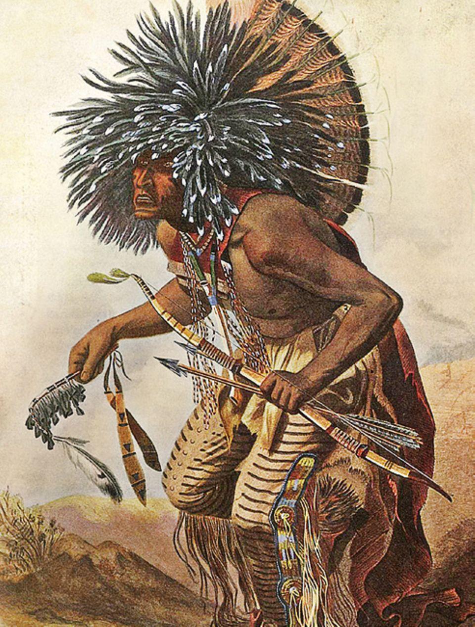 Trapper - 1803-1840: Ritueller Tanz eines Hidatsa- Kriegers. Dieser Stamm gehört zu den Sioux
