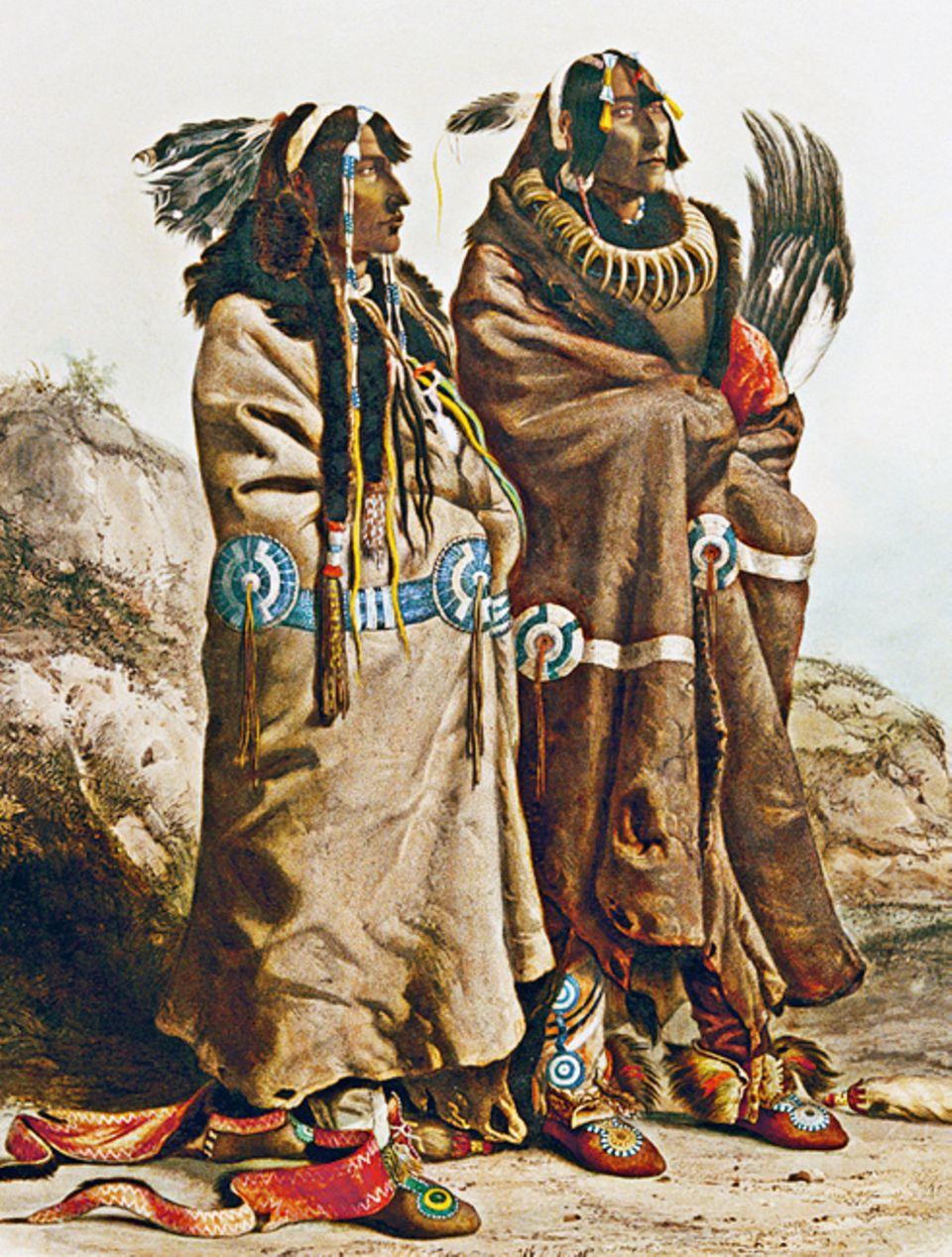 Trapper - 1803-1840: Anders als andere Prärieindianer siedeln die Mandan in festen Dörfern und betrei- ben Ackerbau