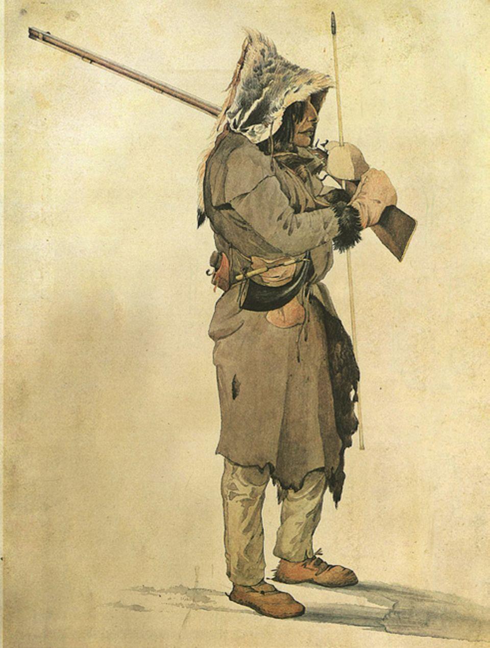 Trapper - 1803-1840: Die Assiniboin verkaufen den Weißen Bisonfleisch gegen Gewehre. Doch das Vordringen der Trapper treibt den Stamm immer weiter nach Westen