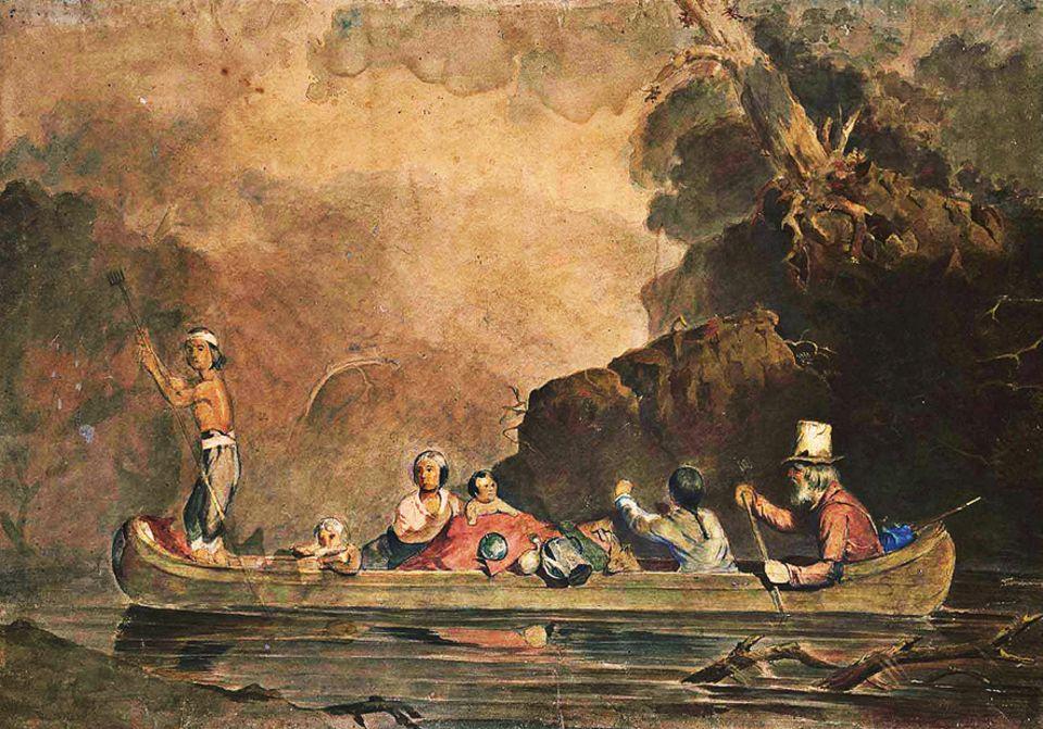 Trapper - 1803-1840: Trapper mit Familie. Der zylinderähnliche Hut aus Biberpelz ist auch bei Stadtbewohnern beliebt