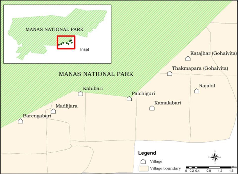 Indien: Lage der acht Projektsiedlungen an der Südgrenze des Manas Nationalparks