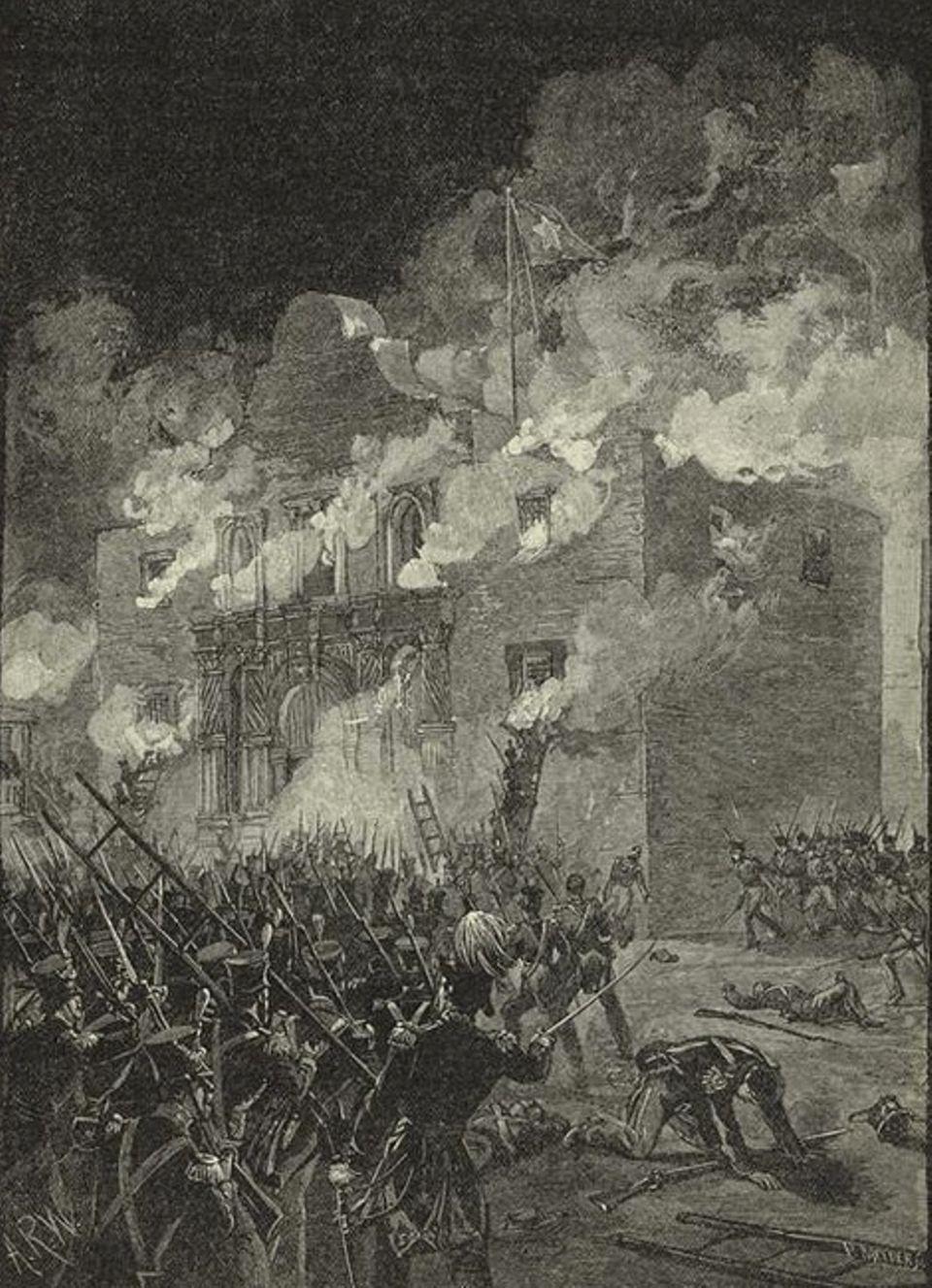 Wilder Westen: 13 Tage lang belagern mexikanische Truppen Alamo, wo sich rund 250 Texaner verbarrikadiert haben. Am frühen Morgen des 6. März 1836 befiehlt der Oberkommandierende Antonio López de Santa Anna den Sturm auf die ehemalige Missionsstation