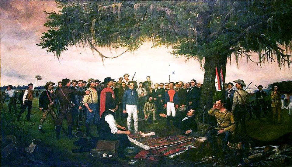"""Wilder Westen: """"Remember the Alamo"""" wird zum Schlachtruf der texanischen Rebellen. Nur wenige Wochen nach dem Fall der Station besiegen sie die Mexikaner entscheidend. Der am Fuß verwundete Befehlshaber Sam Houston (liegend) nimmt hier die Kapitulation General Santa Annas entgegen"""