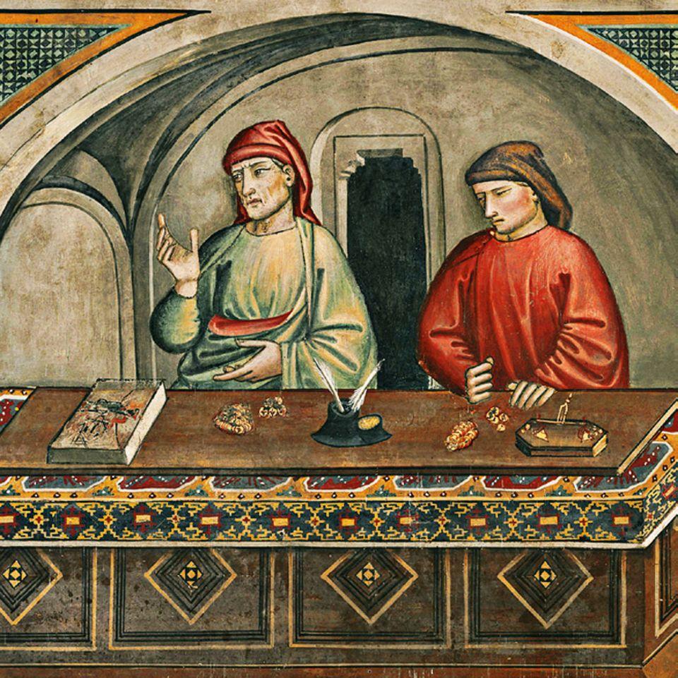 Florenz um 1300: Die ersten Banken bestehen oft aus kaum mehr als dem Wechseltisch und werden von zwei oder drei Geschäftspartnern geführt