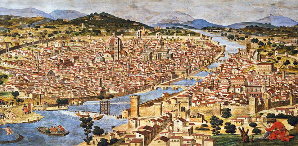 Florenz um 1300: Mehr als 60 Banken gibt es um 1300 in Florenz, darunter bald international tätige Unternehmen mit Filialen überall in Europa, angestellten Geschäftsführern und zahlreichen Beschäftigten