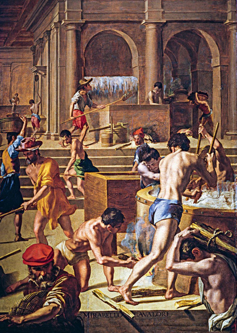 Florenz um 1300: Arbeiter in einer Wollmühle. Mehr als 200 Woll-Werkstätten gibt es in Florenz. Kaufleute liefern das berühmte Tuch an Abnehmer in Italien und ganz Europa – es ist die Grundlage des Reichtums in der Stadt