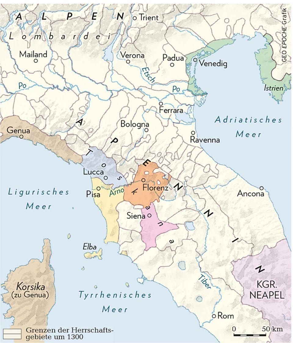 Florenz um 1300: Die italienischen Stadtrepubliken: Die nördliche Hälfte Italiens zerfällt um 1300 in eine Vielzahl von Stadtrepubliken wie Florenz, Siena, Genua und Venedig, die erbitterte wirtschaftliche Konkurrenten sind, aber auch immer wieder Krieg gegeneinander führen