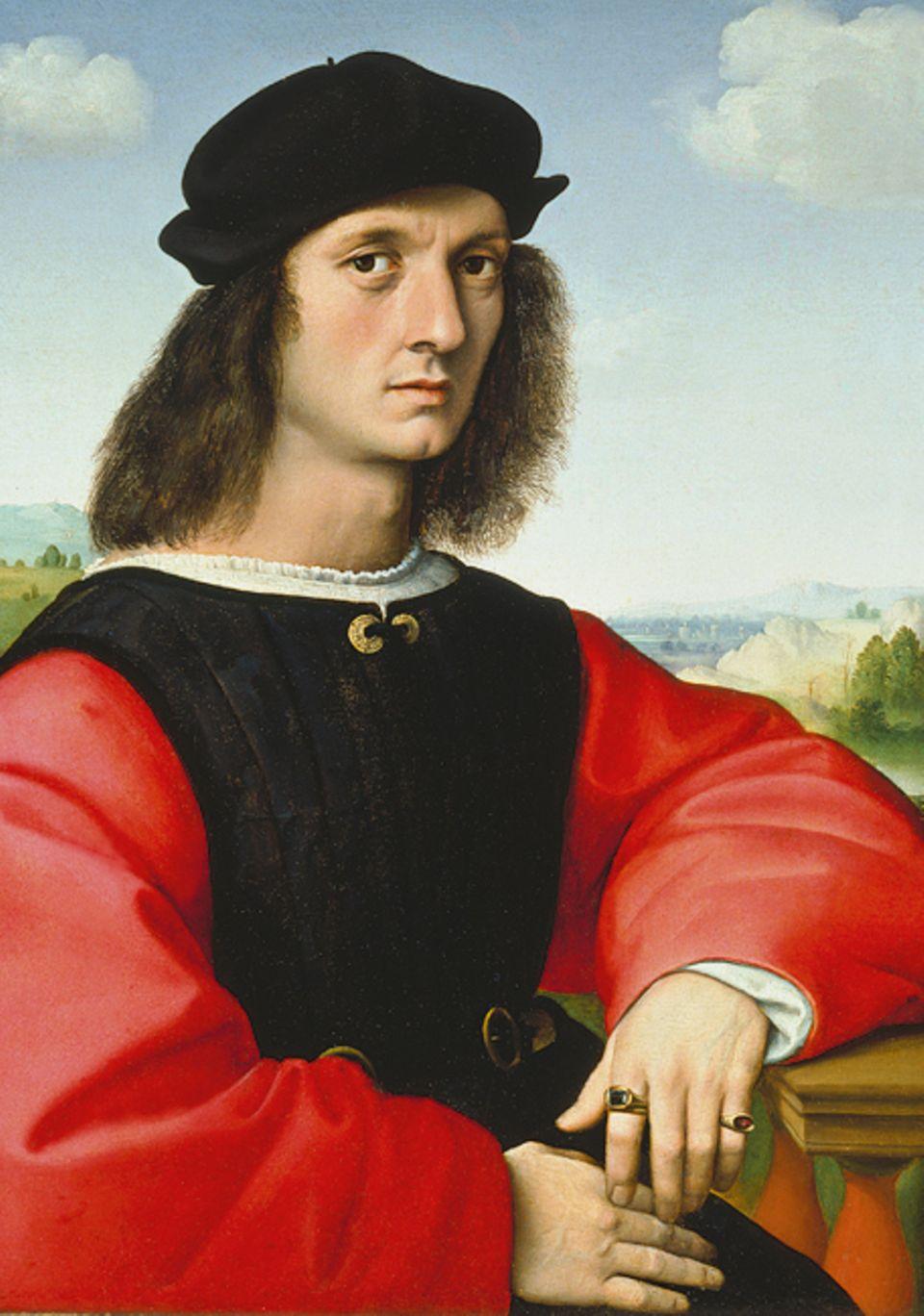 Florenz um 1300: Selbstbewusst lassen sich die Angehörigen der neuen Kaufmannselite von den angesehensten Künstlern ihrer Zeit porträtieren - wie hier ein Florentiner Geschäftsmann um 1506 von dem berühmten Raffael