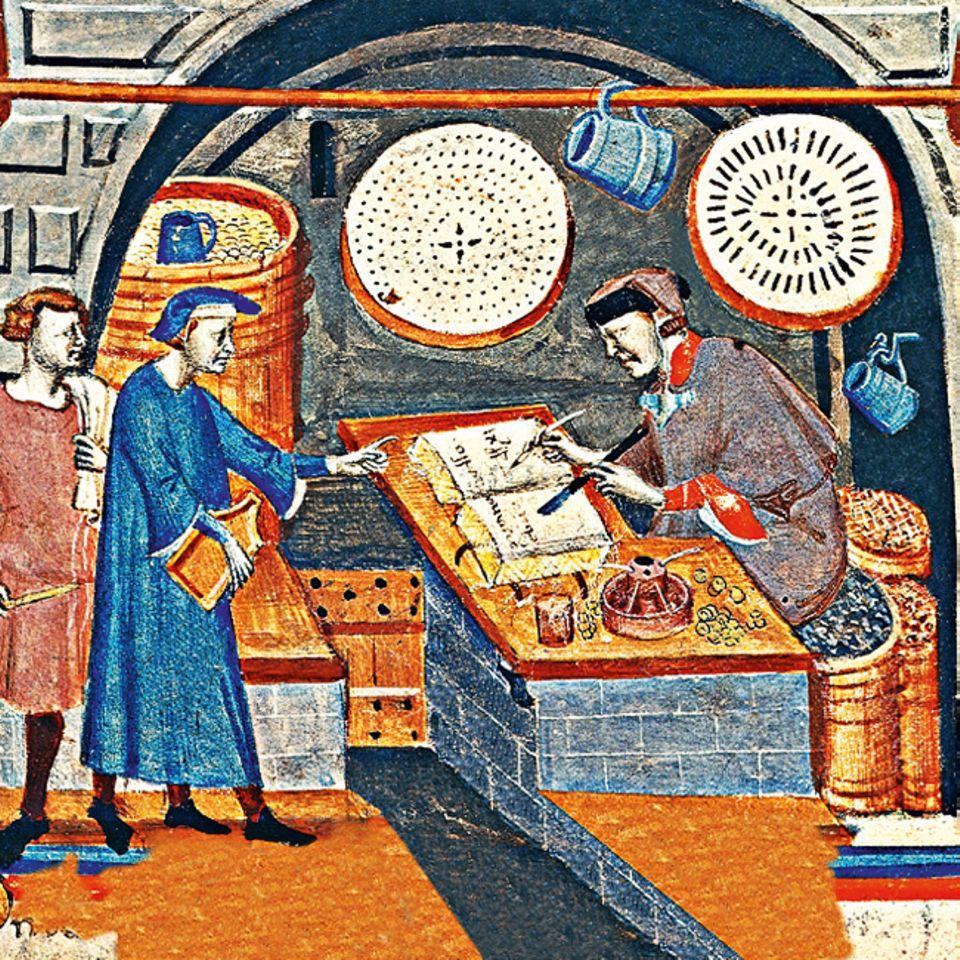 Florenz um 1300: Reiche Kaufleute aus Florenz haben de facto das Monopol für den Handel mit Getreide aus Süditalien - ein gewaltiges Geschäft: Allein 1311 kaufen florentinische Händler 45.000 Tonnen apulisches Korn auf