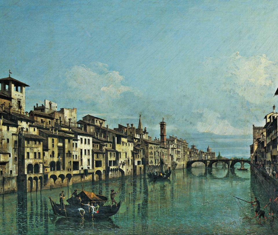 Florenz um 1300: Auch über den Fluss Arno, der Florenz teilt, erreichen Waren die Stadt. Lastkähne steuern direkt die Speicher der Lagerhäuser an, die oftmals am Ufer liegen